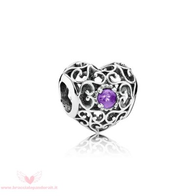 Pandora Online Outlet Compleanno Charms Febbraio Cuore D'Autore Charm Ametista Sintetica