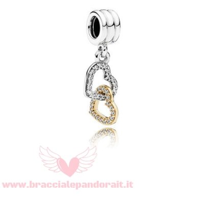Pandora Online Outlet San Valentino Charms Interlocked Cuores Penzolare Charm