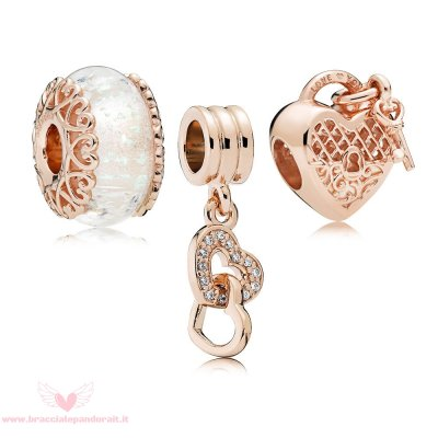 Pandora Online Outlet Pandora Rose Blocca Il Tuo Amore Murano Charm Pack