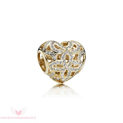 Pandora Online Outlet Simboli D'Amore Charms Amore Appreciation Charm Chiaro Cz 14K Oro