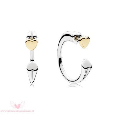 Pandora Online Outlet Two Hearts Earring Hoops