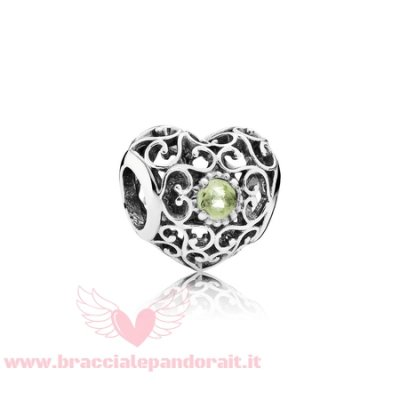 Pandora Online Outlet Compleanno Charms Agosto Cuore D'Autore Charm Peridot