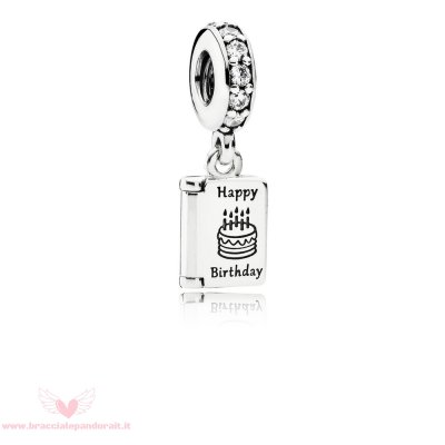 Pandora Online Outlet Compleanno Charms Compleanno Auguri Penzolare Charm Chiaro Cz