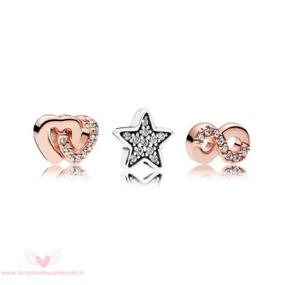 Pandora Online Outlet Pandora Rose Pacchetto Charm Di Cuore E Stelle