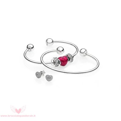 Pandora Online Outlet Be Mine Stacked Open Bangle Regalo