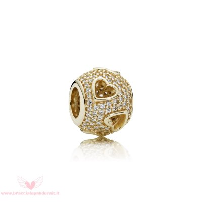 Pandora Online Outlet Simboli D'Amore Charms Nastro Cuore Charm 14K Oro