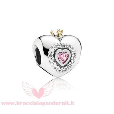 Pandora Online Outlet Fiaba Charms Principess Cuore Charm Rosa Cz