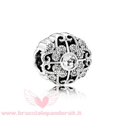Pandora Online Outlet Fiaba Charms Fatatale Fioritura Charm Chiaro Cz