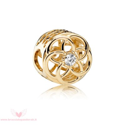 Pandora Online Outlet Contemporaneo Charms Loving Bloom Charm 14K Oro Chiaro Cz