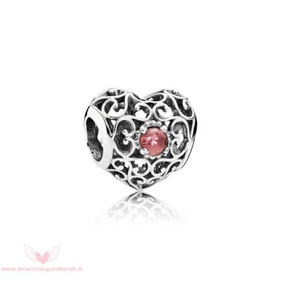 Pandora Online Outlet Compleanno Charms Gennaio Cuore D'Autore Charm Granato