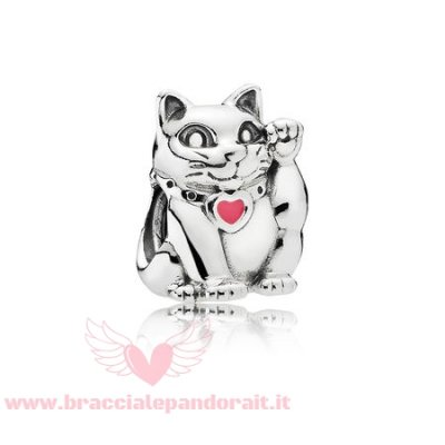 Pandora Online Outlet Animali Charms Fortunato Gatto Charm Smalto Rosa