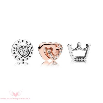 Pandora Online Outlet Pandora Rose Cuori E Corone Pack Con Charm In Petite