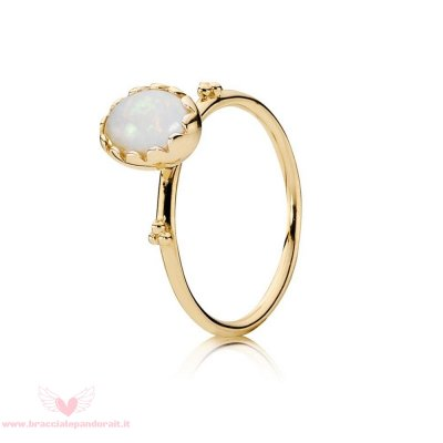 Pandora Online Outlet Anelli Dolcezza Dolce Bianca Opale 14K Oro
